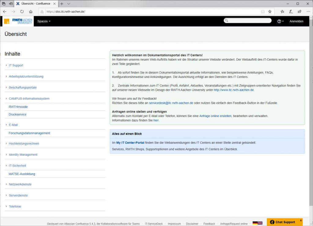So sieht sie aus: Die Startseite des Dokumentationsportal doc.itc  Zu erreichen über: www.doc.itc.rwth-aachen.de