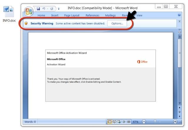 Letzte Warnung von Word, bevor sich der Virus ausbreiten kann - auf keinen Fall die Makros aktivieren!  Quelle: Internet Storm Center