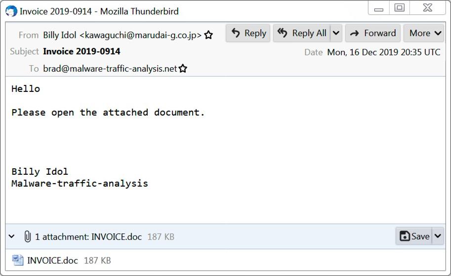 Eine harmlose E-Mail mit Word-Datei im Anhang.  Quelle: Internet Storm Center