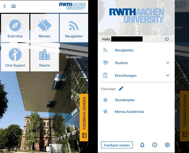 Startmenü & Kategorienansicht der RWTHApp