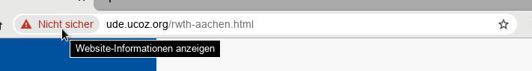 Sowohl der Browser als auch die URL zeigen an, dass es sich um eine nicht sichere Seite handelt. Daher schaut bitte explizit in die Browserzeile!