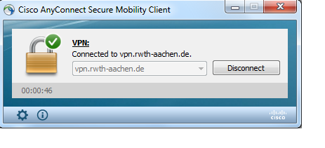 Das globale VPN der RWTH Aachen University im Cisco Anyconnect Client.