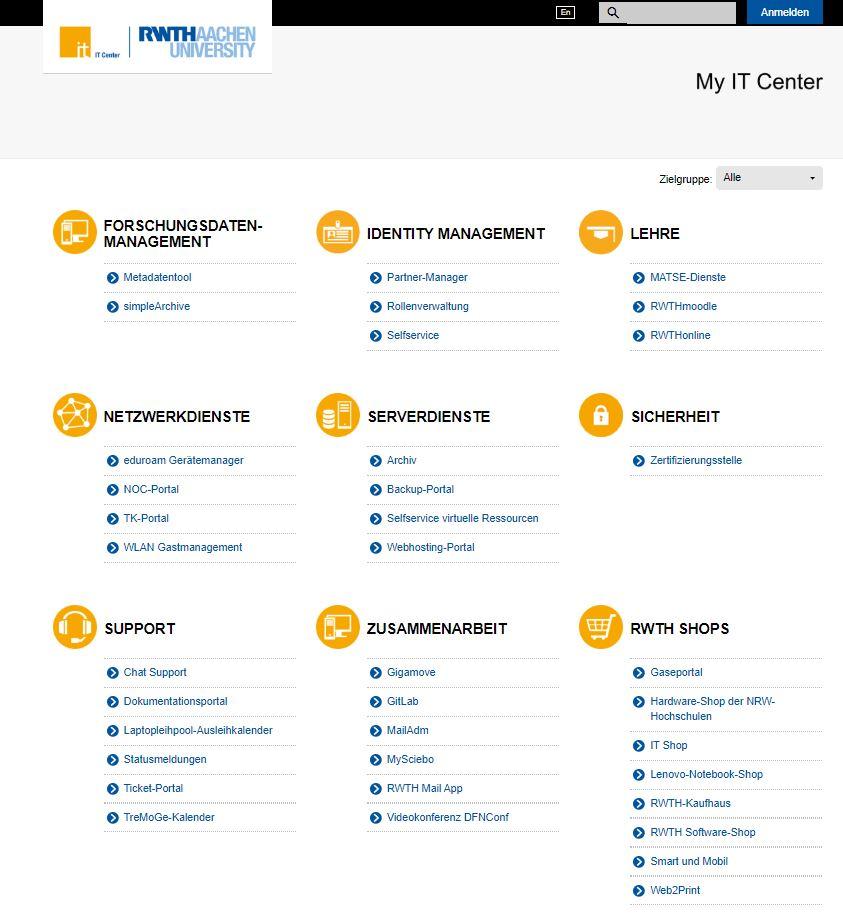 Das My IT Center Portal - übersichtlich, direkt und bequem Zugang zu vielen Anwendungen.