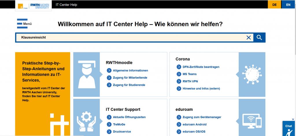 IT Center Help - Hier findet ihr Antworten auf eure Fragen. Ganz gleich, ob es um eduroam oder RWTHmoodle geht. Einfach, schnell und bequem Anleitungen und Informationen finden.