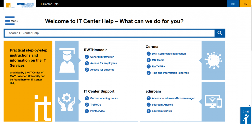 IT Center Help - Here you will find answers to your questions. No matter if it is about eduroam or RWTHmoodle. Find instructions and information easily, fast and comfortable.