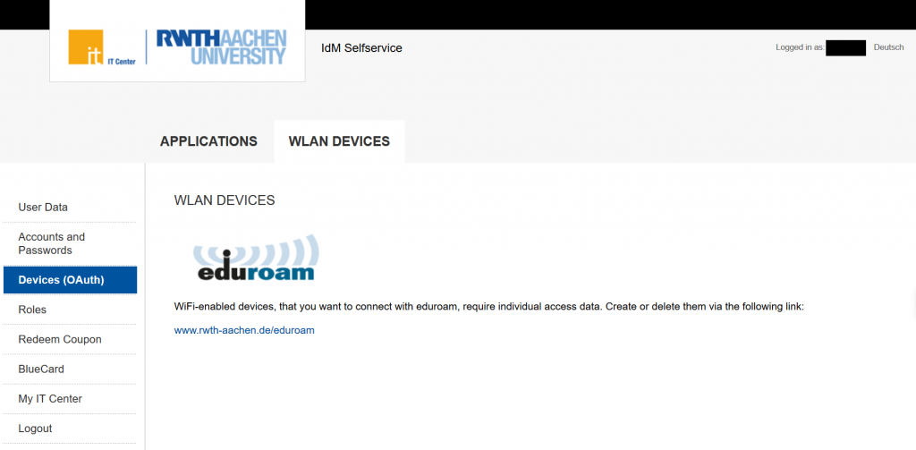 Did you know that you can also manage your eduroam connected devices from the self service? Here you can manage much more!