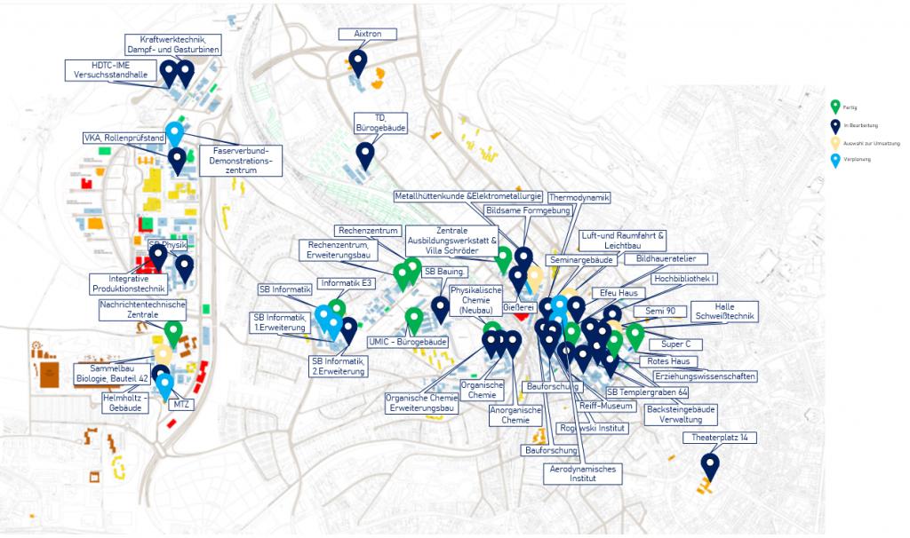 Eine Karte des Netzes der RWTH Aachen. Besonders hervorgehoben sind jene Gebäude, die bereits netz-erneuert wurden.