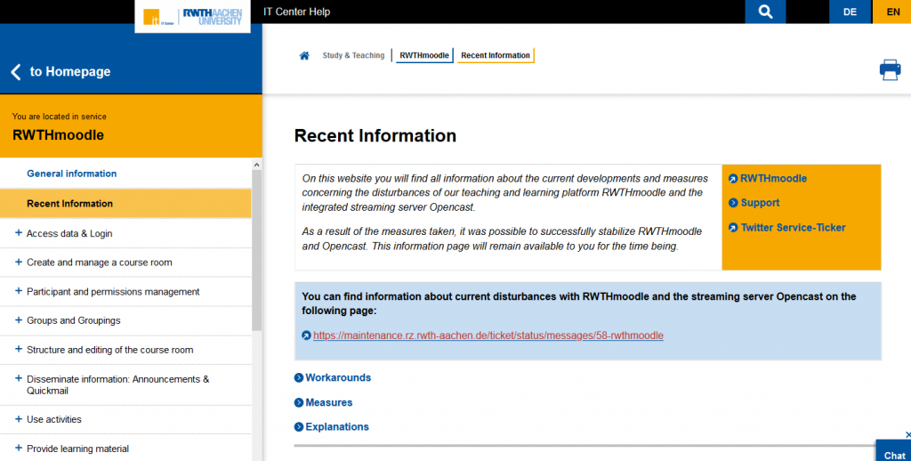 View of the information page about current events in RWTHmoodle.