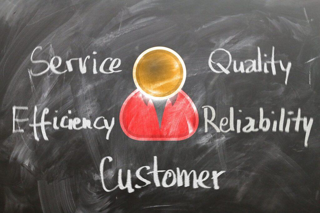 Schriftzug Service und Qualität für den Nutzer