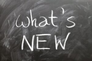 "Chalk on blackboard ""What's NEW"""