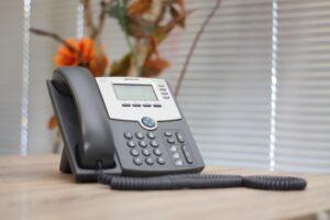Telephone on a desk