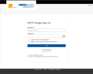 The login mask of the RWTH Single Sign-On.