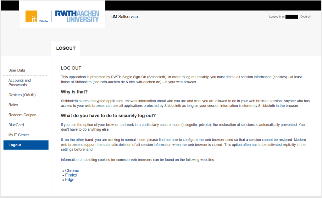 The instructions for secure logout from the RWTH Single Sign-On.