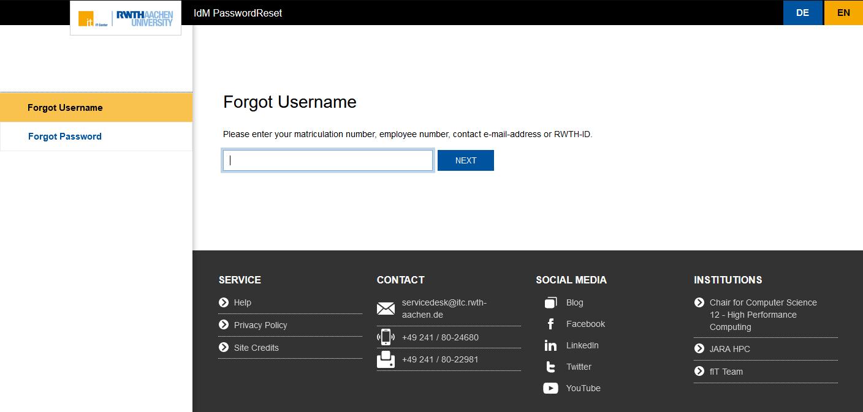 Forgot username - new design