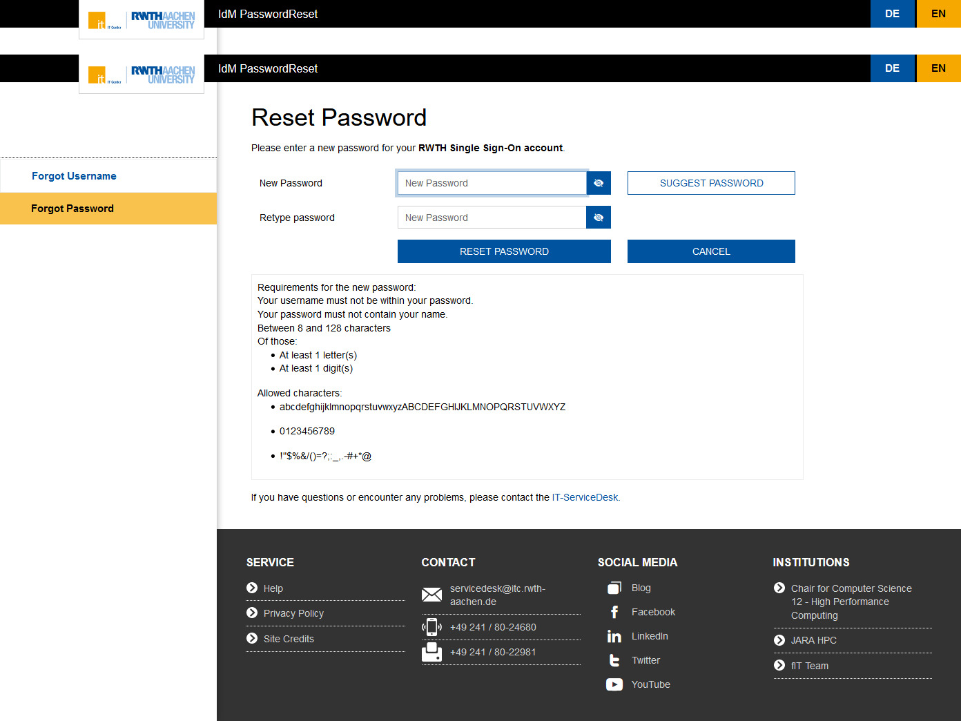 Reset password - new design