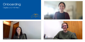 Two women and a man in a video conference smile at the camera