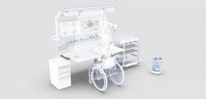 Rollstuhlfahrerin bzw. Rollstuhlfahrer sitzt an einem Produktionsarbeitsplatz und wird durch Roboter bei der Arbeit unterstützt.