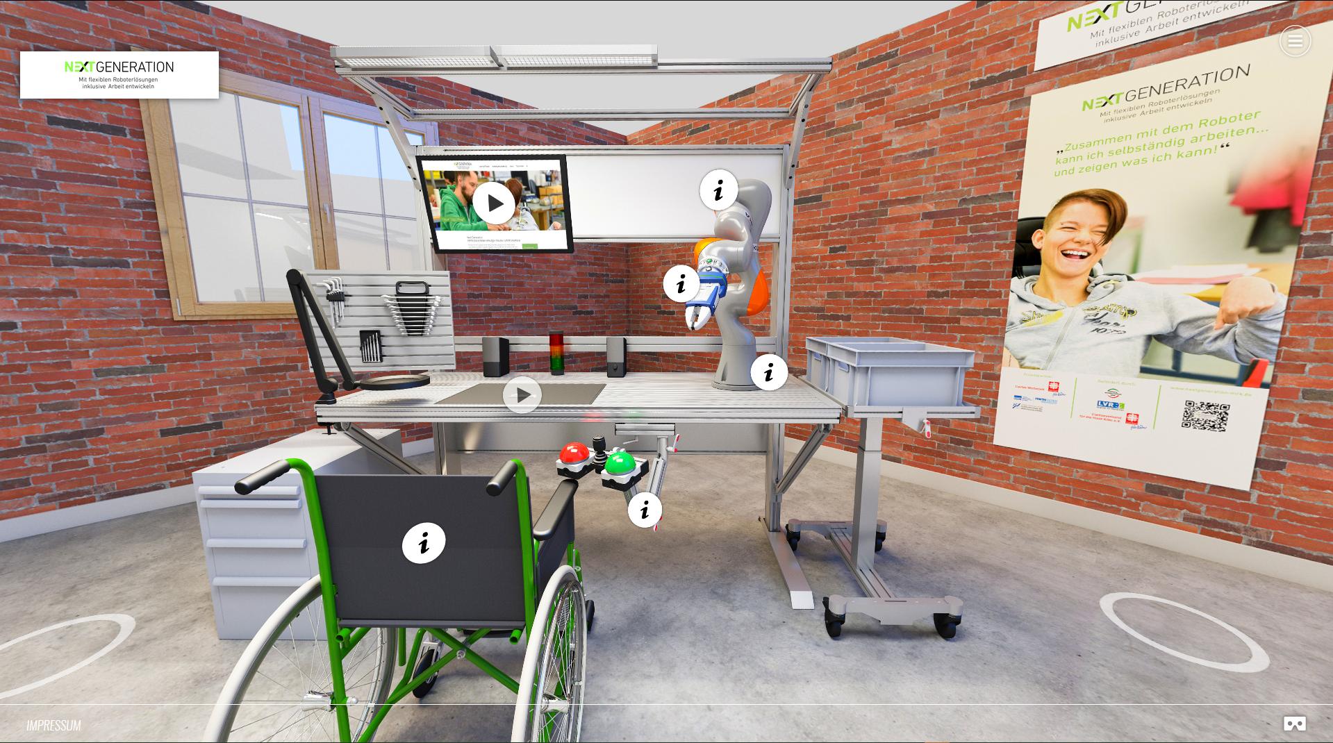 Foto inklusiver Arbeitsplatz: Rollstuhl vor Arbeitstisch mit Roboter, Werkzeugen und Visualisierungsmonitor